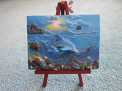 Tiny Ceramic Dolphin 3D Painting on Easel Classic Wildlife Collection ocean sea