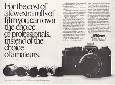 1982 Nikon: For the Cost of a Few Extra Rolls Vintage Print Ad