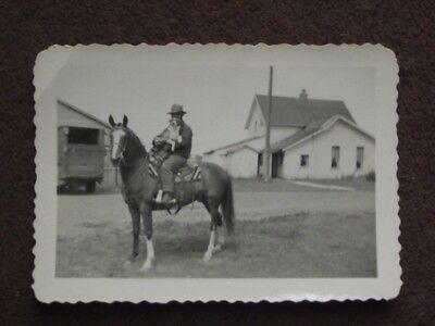 COWBOY ON HORSE WITH A DOG ON HIS LAP Vintage 1930's PHOTO