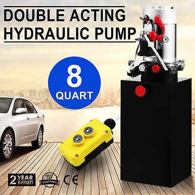 8 Quart Double Acting Hydraulic Pump Dump Trailer Unloading Control Kit 12V