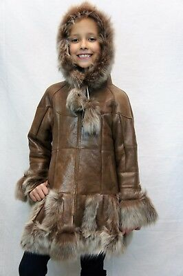 Ginger 100% Genuine Sheepskin Shearling Leather Girls Kids Children Coat Jacket