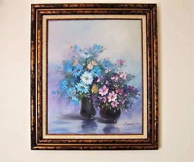 """Robert Cox Rare Floral Two Vase Still Life Oil on Stretched Canvas 25""""x 29"""""""