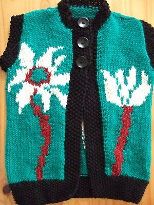 Childrens pure Wool Vest 12ply hand knitted