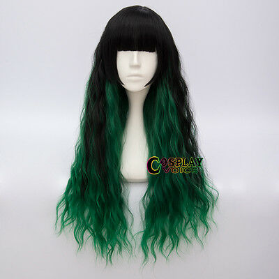 Bang Lolita Long 70CM Black Mixed Dark Green Party Women Anime Cosplay Wigs+Cap