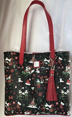 Disney Dooney & and Bourke Christmas Woodland Winter Holiday Tote Purse Bag H