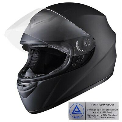 Full Face Helmet - Motorcycle Motorbike Racing Road Visor AS/NZS 1698 Matt Black