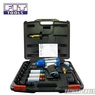 """FIT 1/2"""" Air Impact Wrench 1055 Nm w/ 13 PCS Socket + H.D.T. Adapter -AU"""