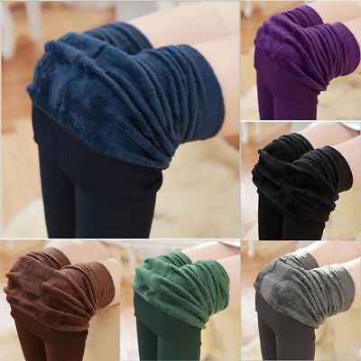 US Women's Solid Winter Thick Warm Fleece Lined Thermal Stretchy Leggings Pants