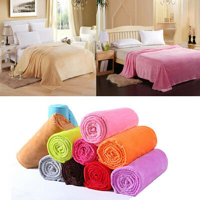 Hot Super Soft Solid Warm Micro Plush Fleece Blanket Throw Rug Sofa Bedding OZAU
