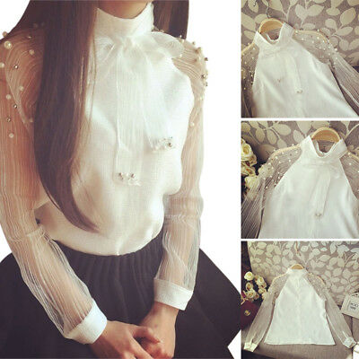 Women Perspective Bow Tie Pearl Decor T-Shirt Long Sleeve Chiffon Blouse Tops US