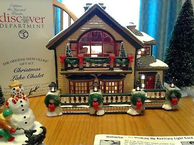 Christmas Lake Chalet - The original Snow Village Gift By Dept. 56 - Retired Set