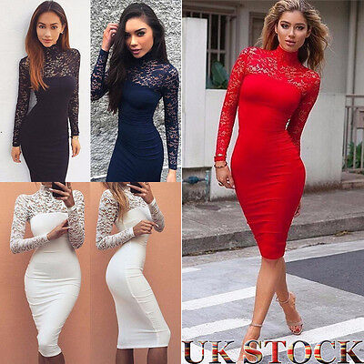 Womens Long Sleeve Bandage Bodycon Lace Dress Formal Wedding Evening Party Dress
