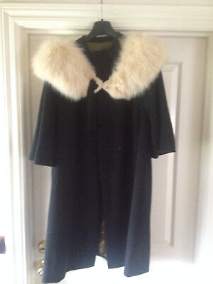 Vintage 1960s Swing Black CASHMERE Coat HAND TAILORED -MADE IN ITALY