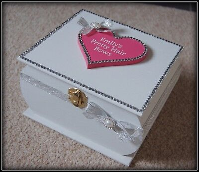 Girls Hair Bow Storage Wooden Box Pretty Glitzy Gift PERSONALISED