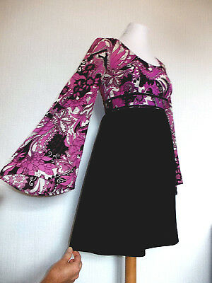 Vintage 60's Size 10 MOD Psych ICONIC Paisley BELL Sleeved PARTY Dress 10