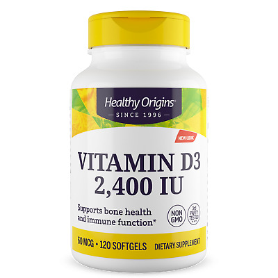 Vitamin D-3, D3, 2400iu x 120 Softgels - Healthy Origins