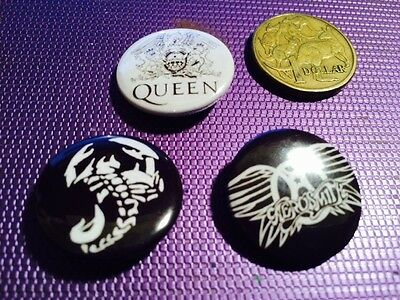 Three Rock Music Metal Button Badges (F)