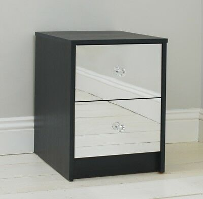 Two Drawer Black Mirrored Gloss Bedside Table Cabinet Unit