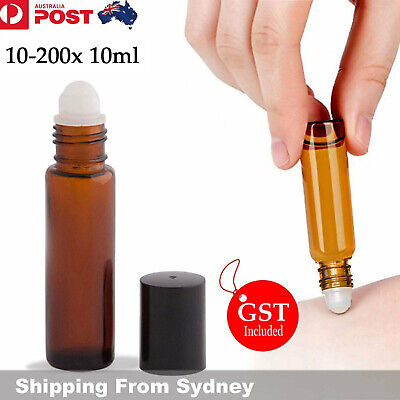 5/10/20x 10ml Amber Glass Bottle Roller Rollerball Perfume Essential Oil Roll On
