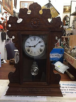(NO46) Antique Sessions Mantle Strike Clock American Oak 1920's U.S.A.