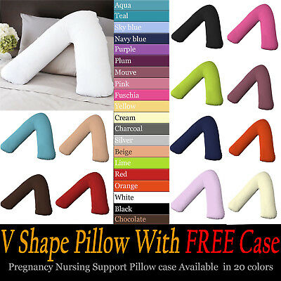 V Shape Polycotton Orthopedic / Nursing / Pregnancy Pillow with Pillow Case