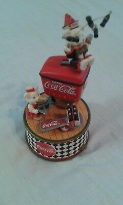"""Christmas Coca Cola Music Box Plays """"Things Go Better With Coke"""" USED"""