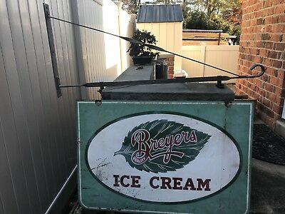 Vintage Breyers Ice Cream Shop Sign Large Double Sided Country store w/ Bracket