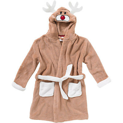 Animal Crazy Child Boys Girls Reindeer Bath Robe Dressing Gown Supersoft Fleece