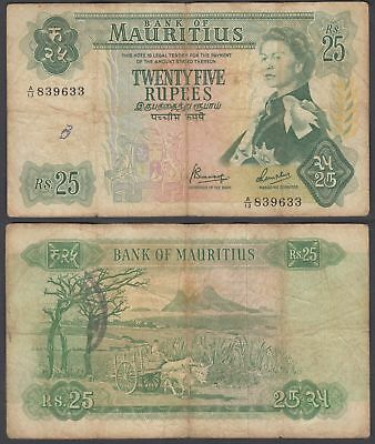Mauritius 25 Rupees 1967 (F) Condition Banknote KM #32 QEII Paper Money