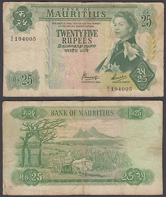 Mauritius 25 Rupees 1967 (VG-F) Condition Banknote KM #32 QEII Africa Money