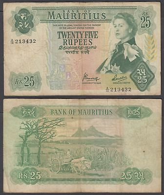 Mauritius 25 Rupees 1967 (F) Condition Banknote KM #32 QEII