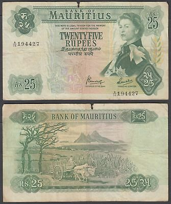 Mauritius 25 Rupees 1967 (VG-F) Condition Banknote KM #32 QEII