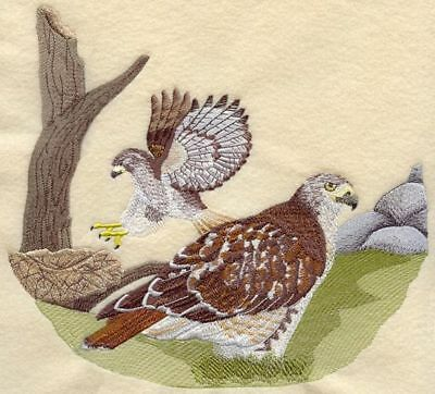 """Red-Tailed Hawk Scene Embroidered Patch 9.9"""" x  9.2"""""""