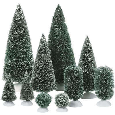 Dept 56 Christmas Village Accessories Bag-O-Frosted 10 Topiary Trees 52996
