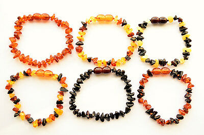 Baltic Amber Teething Baby Adult Bracelet Anklet Safe Knotted Beads choose size