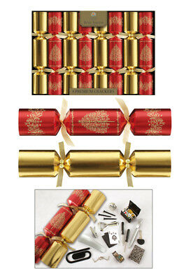 """Tom Smith Christmas Crackers 8 x 12.5"""" Red & Gold Premium Crackers"""