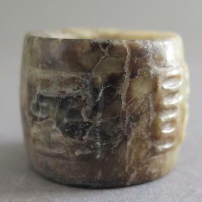 Fine Antique Chinese Jade Archer'S Ring With Archaic Script / Calligraphy [163]