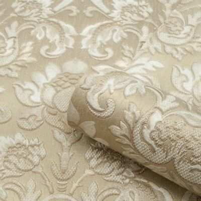 Sorrentino Gold Damask Wallpaper Heavy Textured Vinyl by Belgravia GB9811