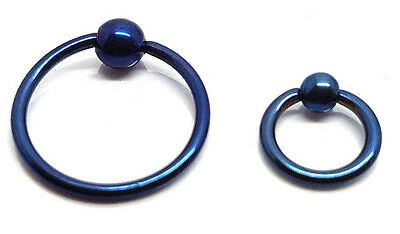 5X Blue Ball Closure Ring BCR Captive Bead Hoop Cartilage Nose Eyebrow Tragus