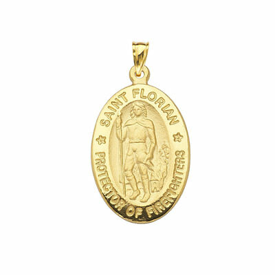 7d7a367a394 14K YELLOW GOLD Large St. Florian St. Christopher Medal Pendant ...