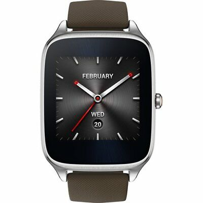 """Asus ZenWatch 2 Smartwatch 1.63"""" Stainless Steel - Silver/Brown Rubber Band"""