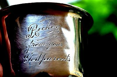 """ANTIQUE STERLING SILVER  0.925 -  Baby/ Child Cup with ENGRAVED NAME  """"RICKEY"""""""