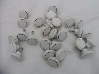 "Lot of 25 Vintage Porcelain White + Brass 1.25"" Drawer Pulls Knobs Handles"