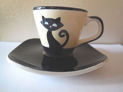 Hues & Brews Black Cat Demitasse Cup & Saucer - Yellow