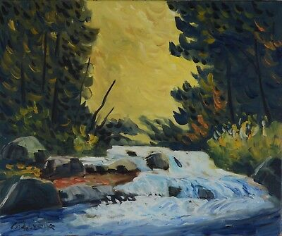 Serge Cadorette Oil Painting Forest River Landscape Canadian Listed 20x24""