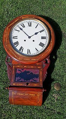 ANTIQUE LATE 1800s NEWHAVEN MAHOGANY DROP DIAL CLOCK WITH INLAY
