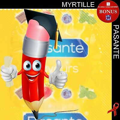 Vente FLASH Lot de 15 préservatifs ⏰ PASANTE MYRTILLE ⏰ + 1 capote DUREX ELITE