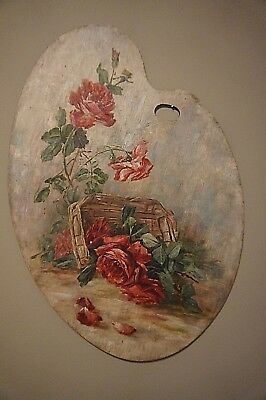Vintage Oil Painting on Artist Board Red Roses in the Style of De Longpre