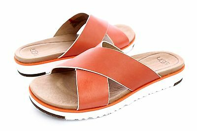 ad7a64e9d39 UGG AUSTRALIA KARI Fire Opal Leather Sandals Size 8 Us Womens ...
