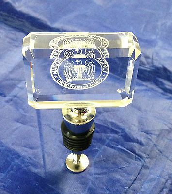 NSA National Security Agency Crystal Wine Stopper w Black Satin Lined Gift Box
